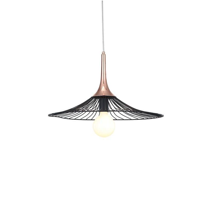 Suspension industrielle noire et cuivre Capell 80 cm