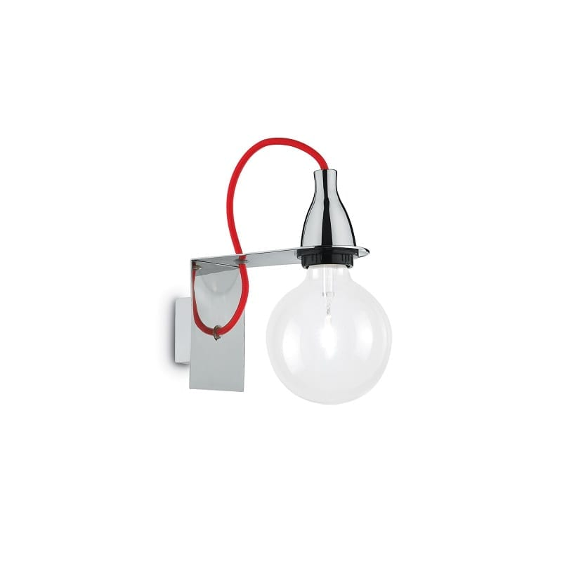 Applique murale ampoule Minimal chrome et rouge