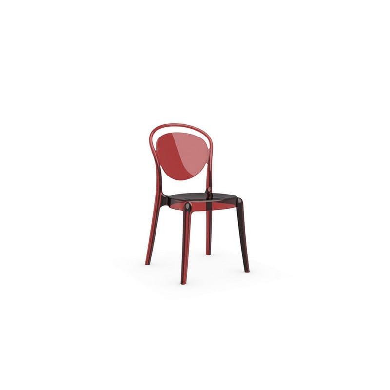 Chaise en polycarbonate Parisienne rouge transparente – Calligaris