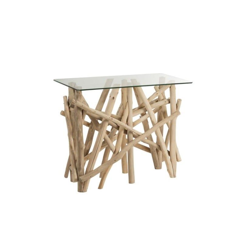 Console Branches rectangulaire en bois naturel et verre – Jolipa