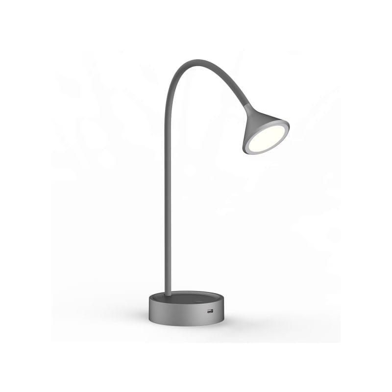 Lampe à poser grise Noke flexible avec prise USB