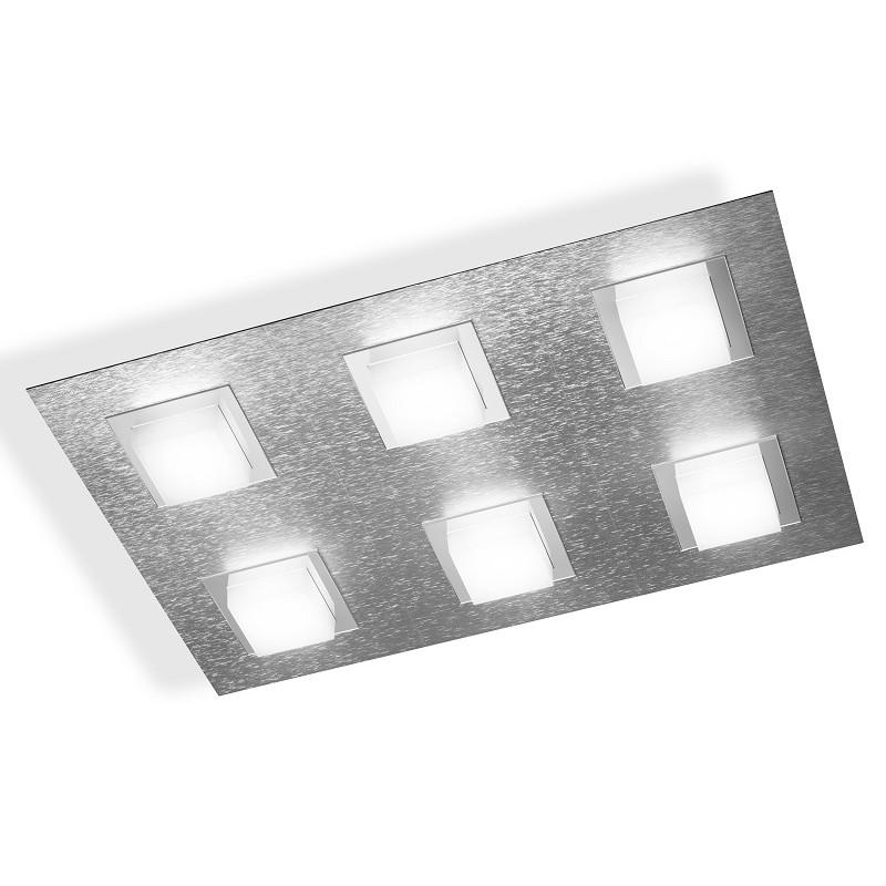 Plafonnier Grossmann led Basic 6 lumières aluminium brossé