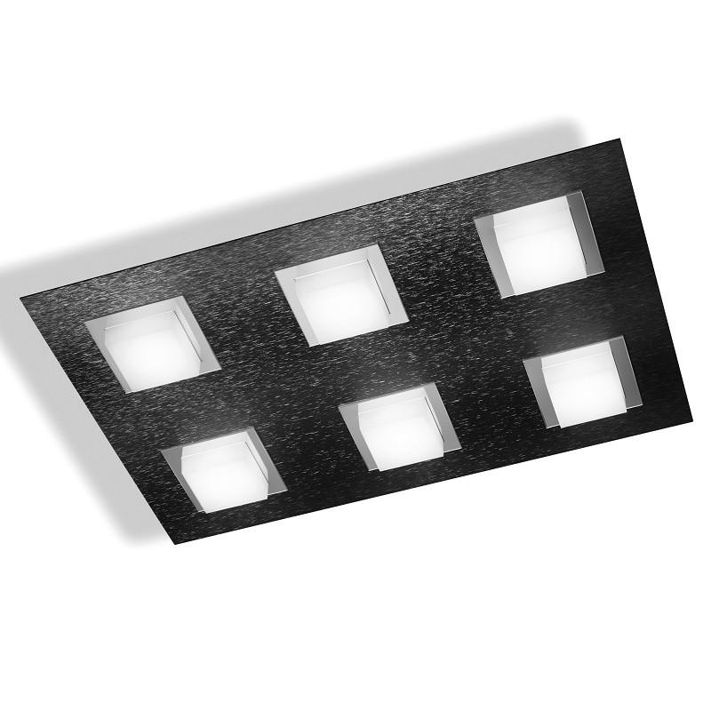 Plafonnier Grossmann led Basic 6 lumières anthracite brossé