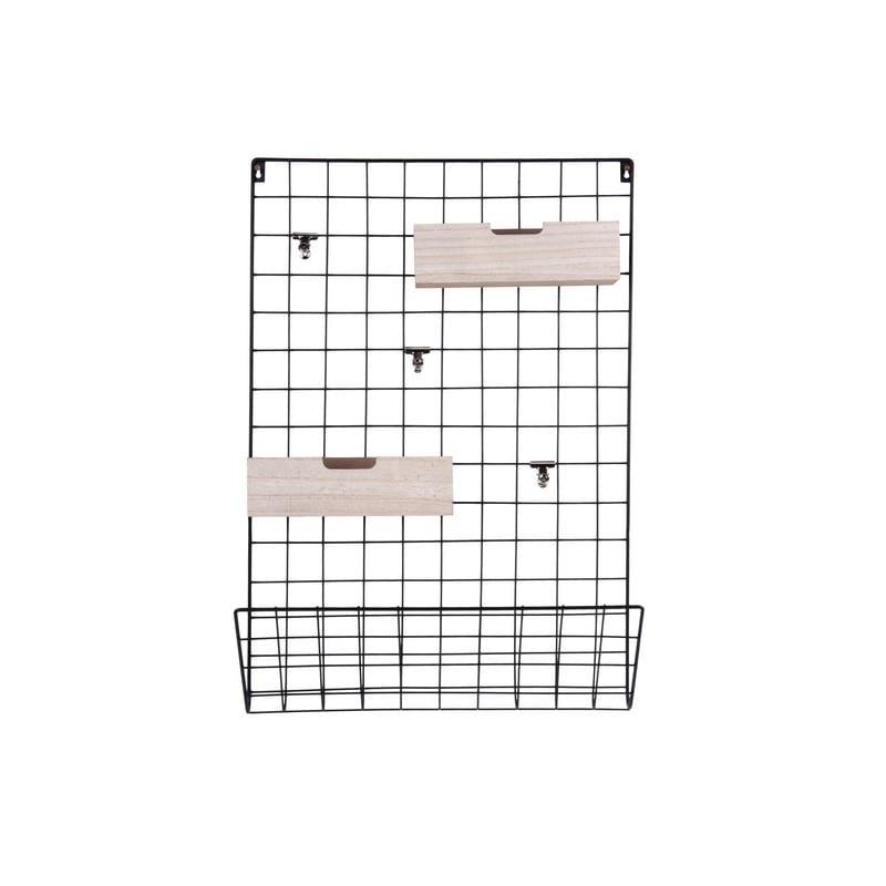 Porte-mémo Grid noir avec panier en bois – Present time