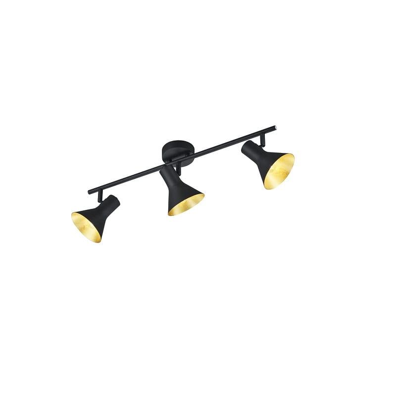 Réglette spot noir et doré Nina 3 lumières