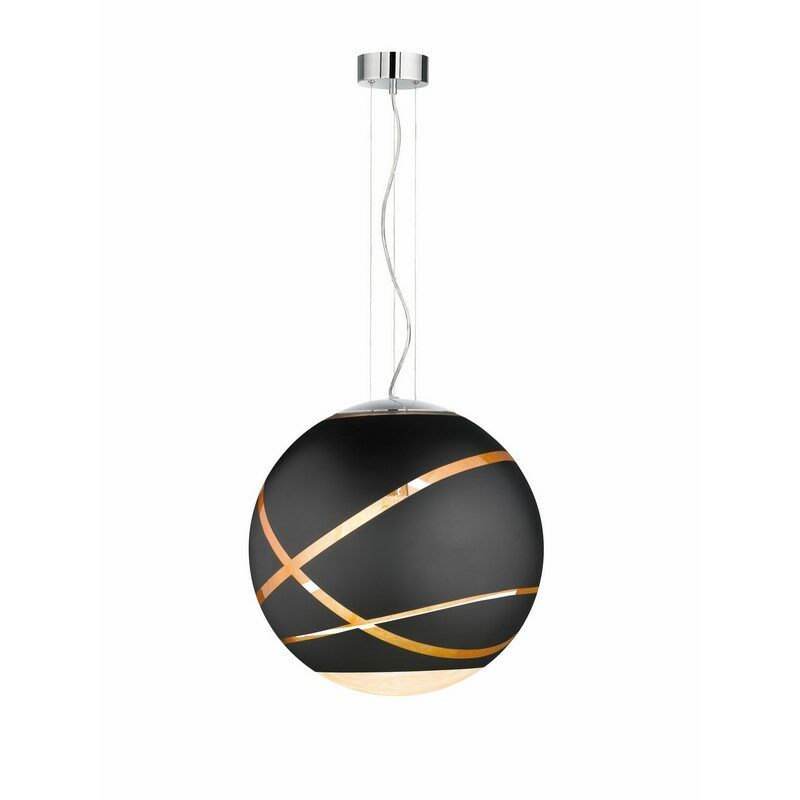 Suspension en verre Faro noir mat 50 cm