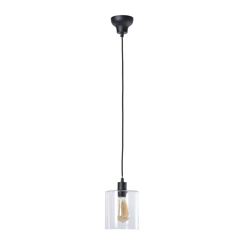 Suspension industrielle 1 lampe Ilo-Ilo noire avec verre – Market Set