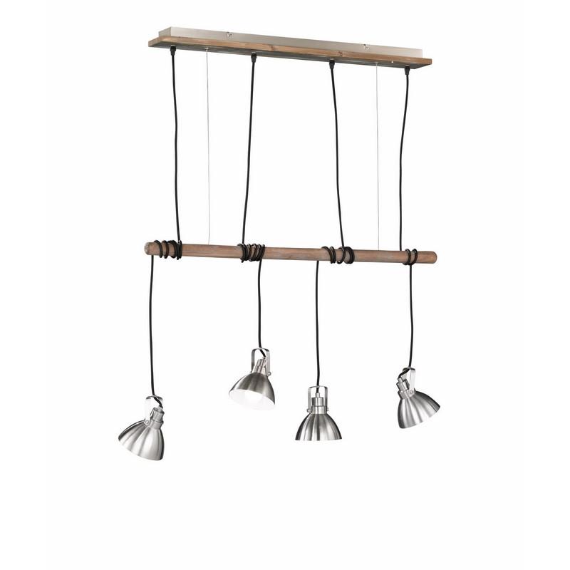Suspension industrielle en bois et métal Timber 4 lumières