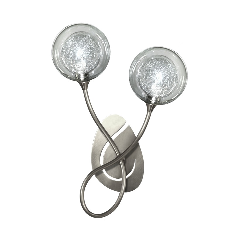 Applique Priam 2 lumières nickel verre S100