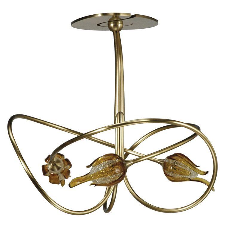 Plafonnier Niobe 3 lumières bruni verre L600 ambré