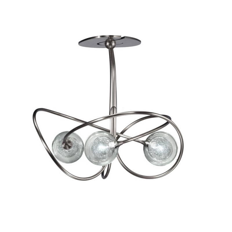 Plafonnier Niobe 3 lumières nickel verre S100