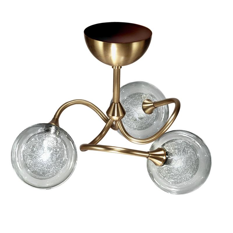 Plafonnier Pompei 3 lumières bruni verre S100