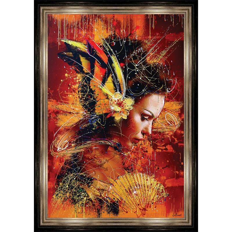 Tableau femme avec encadrement 94 x 132 cm