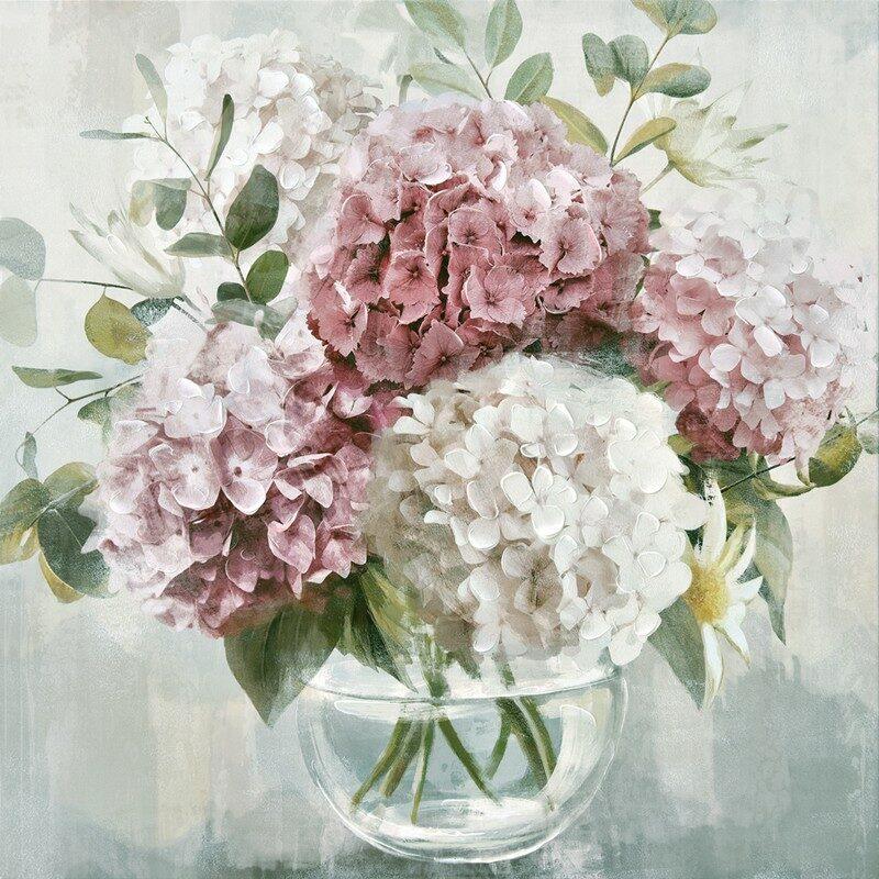 Toile florale bouquet 80 x 80 cm