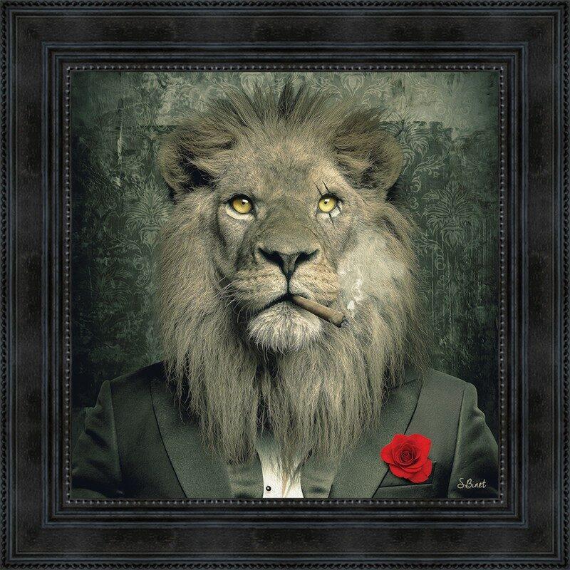 Toile avec encadrement lion mafia 53 x 53 cm