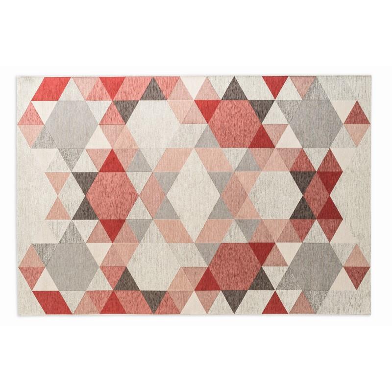 Tapis Esagono gris et rose 200 x 300 cm