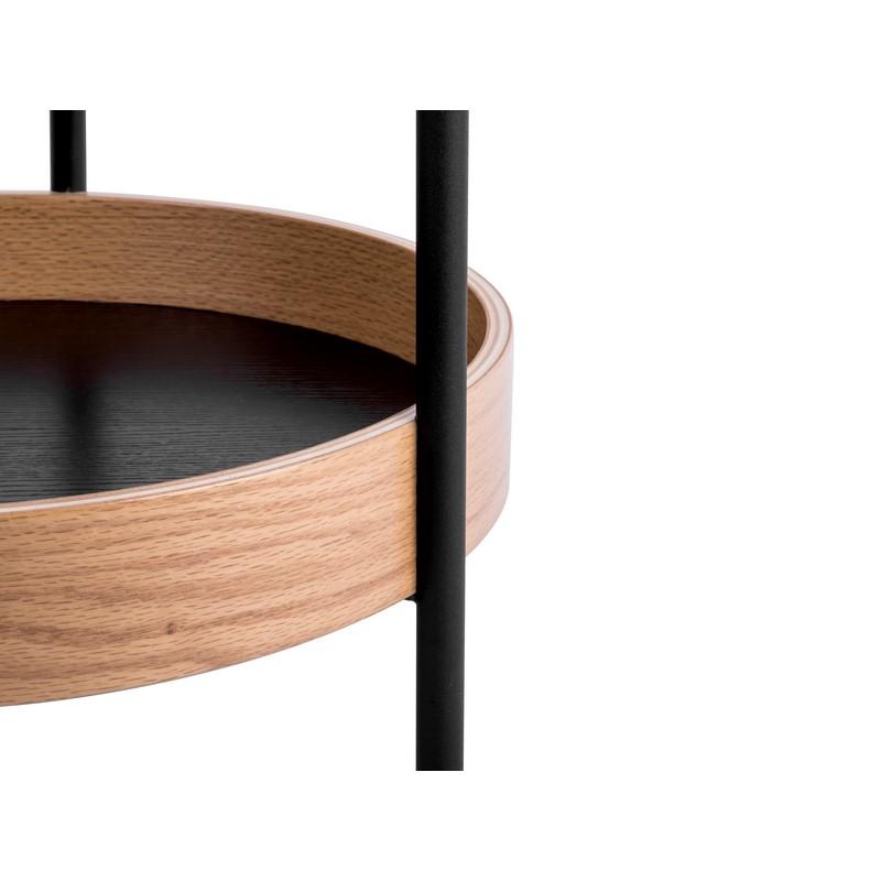 Table d'appoint Dual noire et bois