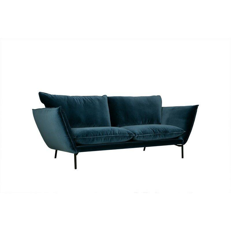 Canapé Hugo 3 places bleu et pieds noirs