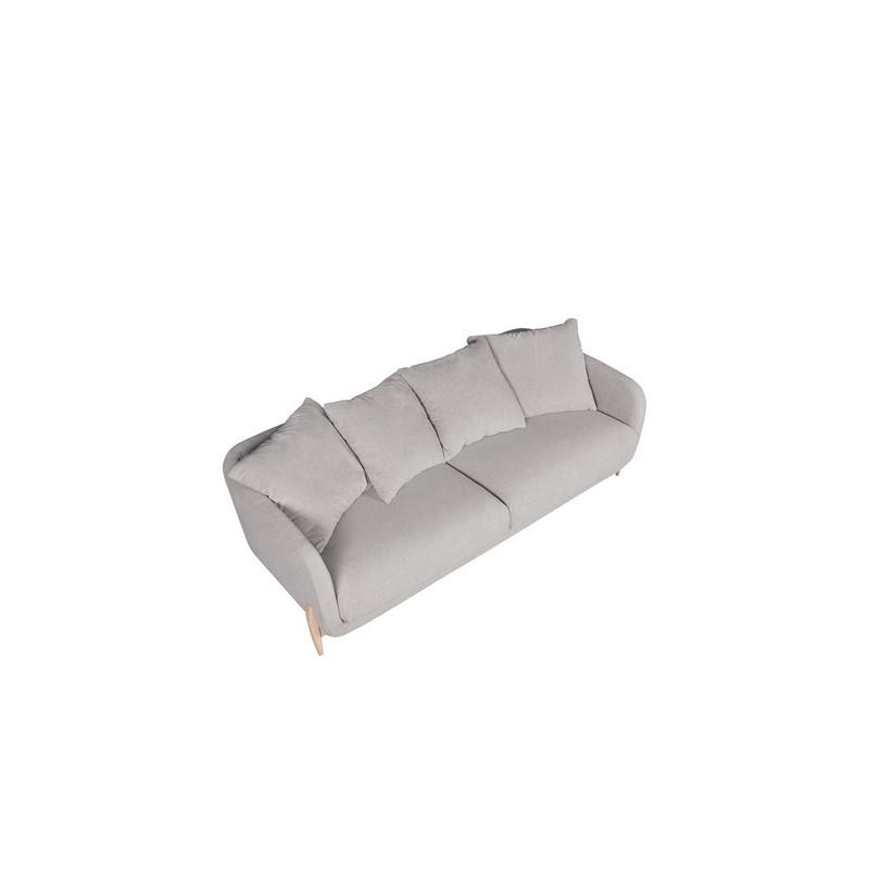 Canapé Jenny 3 places gris avec pieds en chêne