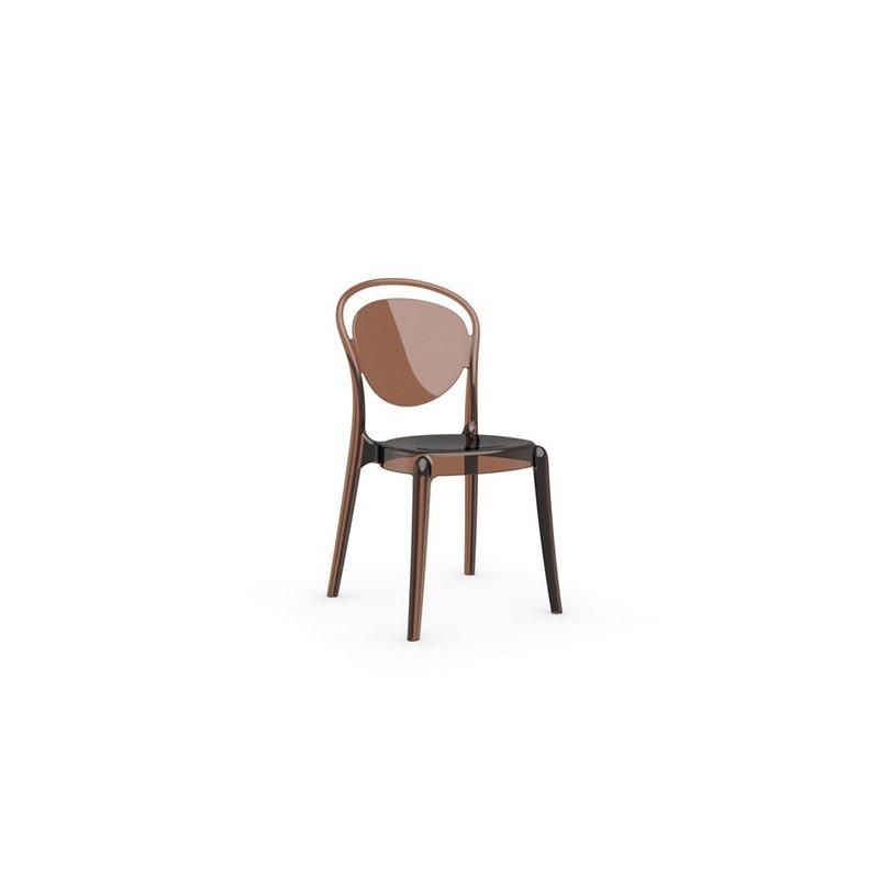 Chaise en polycarbonate Parisienne ambré transparente – Calligaris