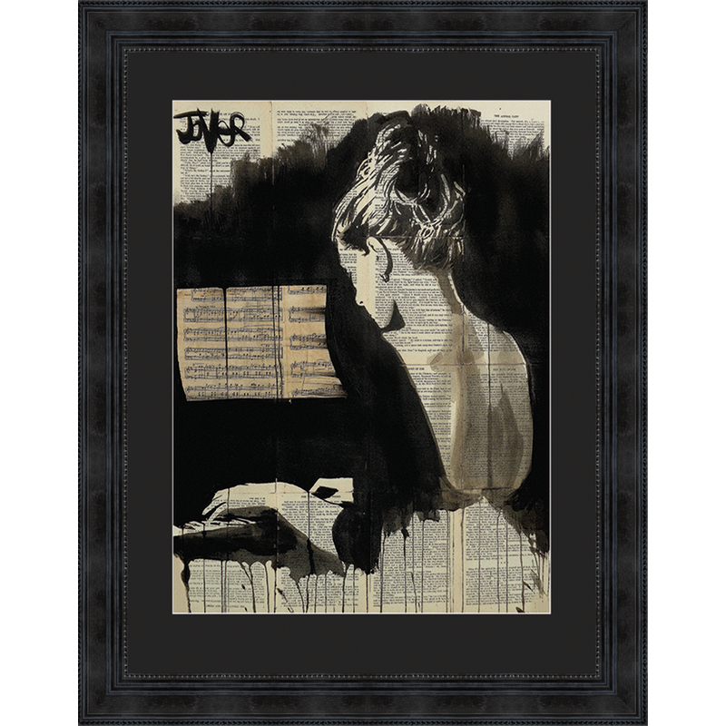 Tableau jeune femme au piano 72 x 92 cm