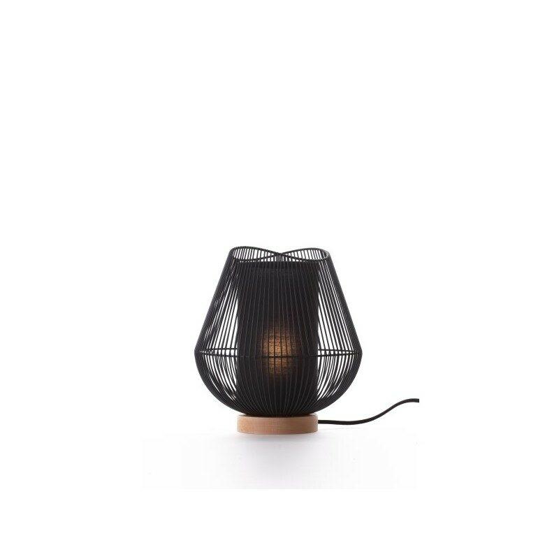 Lampe à poser en métal noir et socle en bois