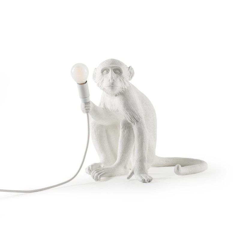 Lampe Singe assis Monkey blanc