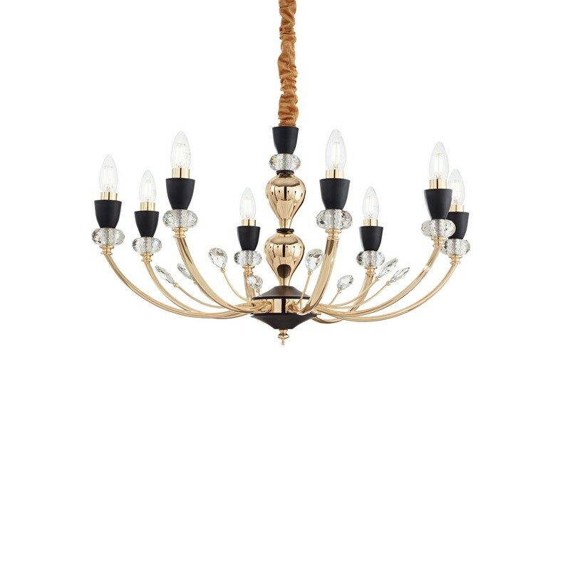Lustre classique Vanity 8 lumières doré et noir