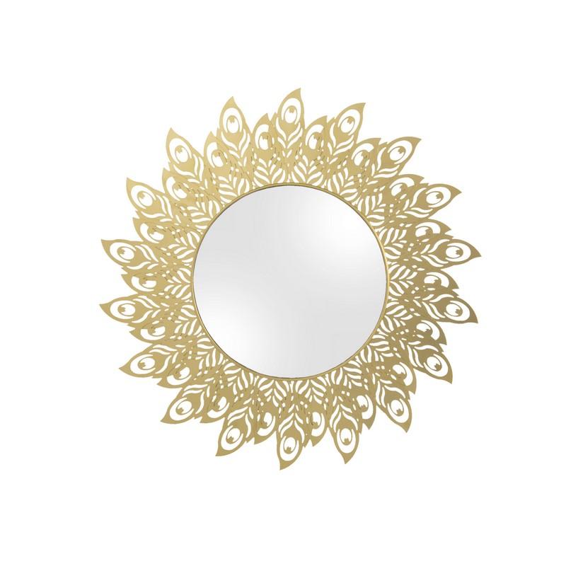 Miroir Plume de Paon or