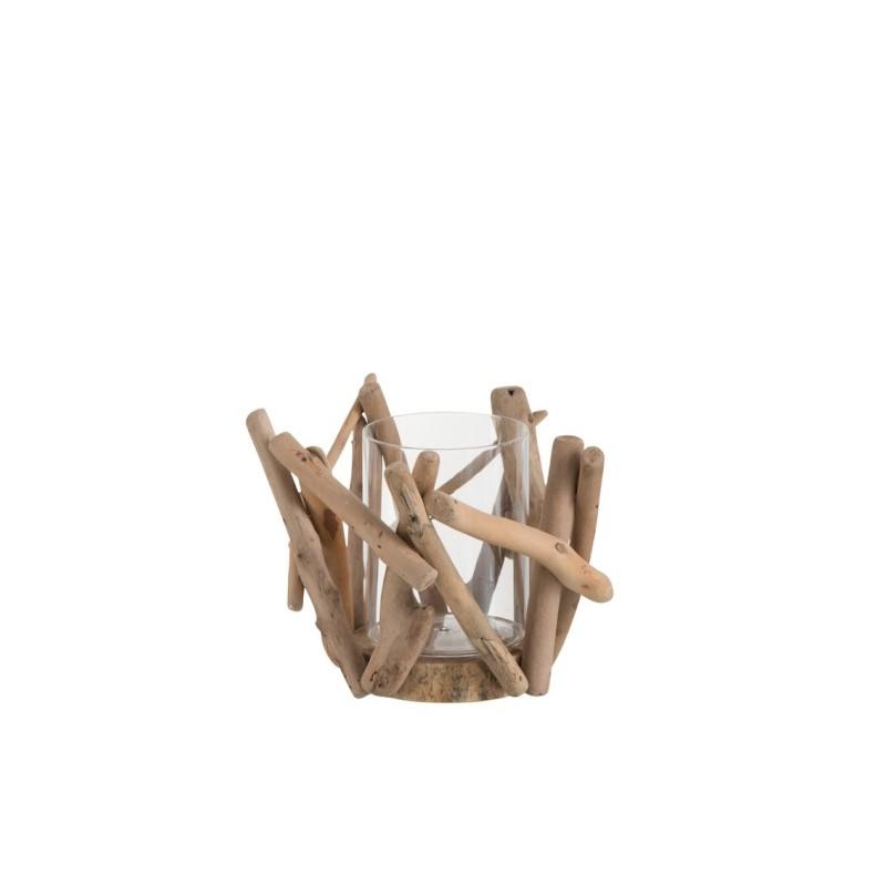Photophore branche bois naturel petit modèle