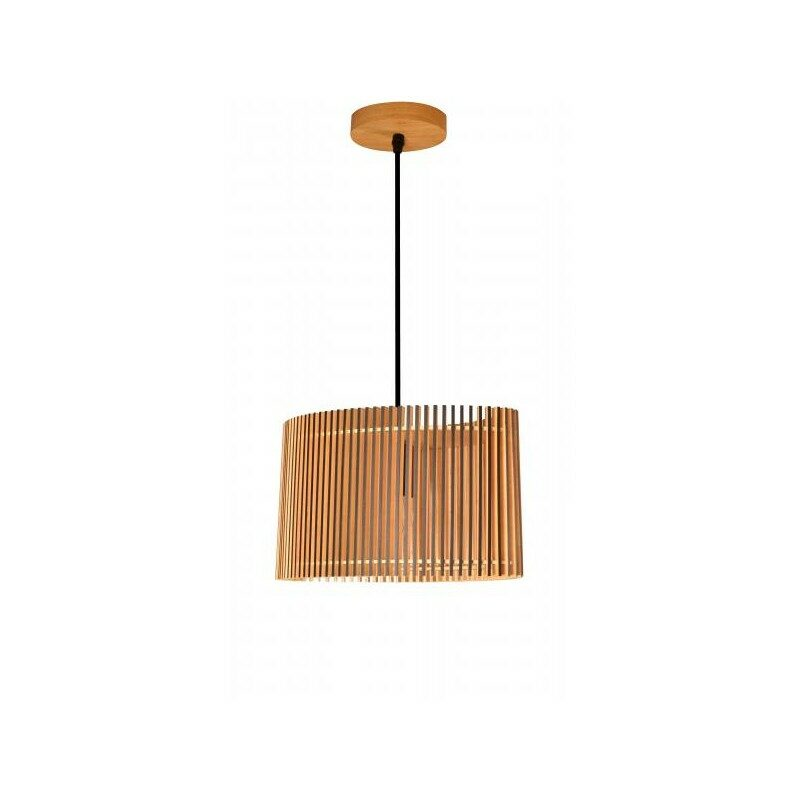 Suspension Farou bois naturel et bordures noires 35 cm