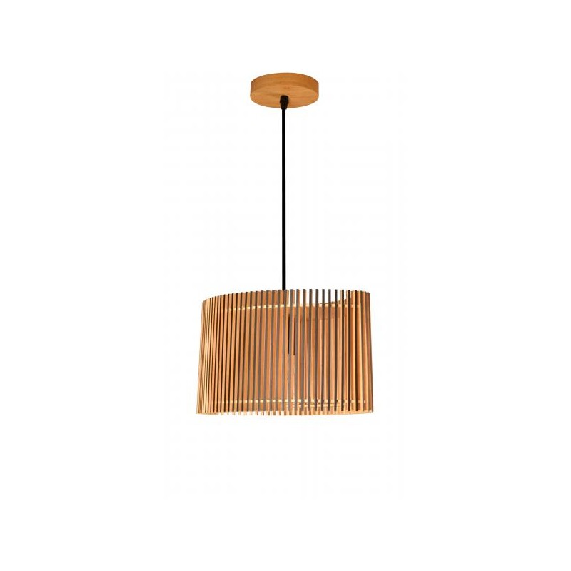 Suspension Farou bois naturel et bordures noires 50 cm