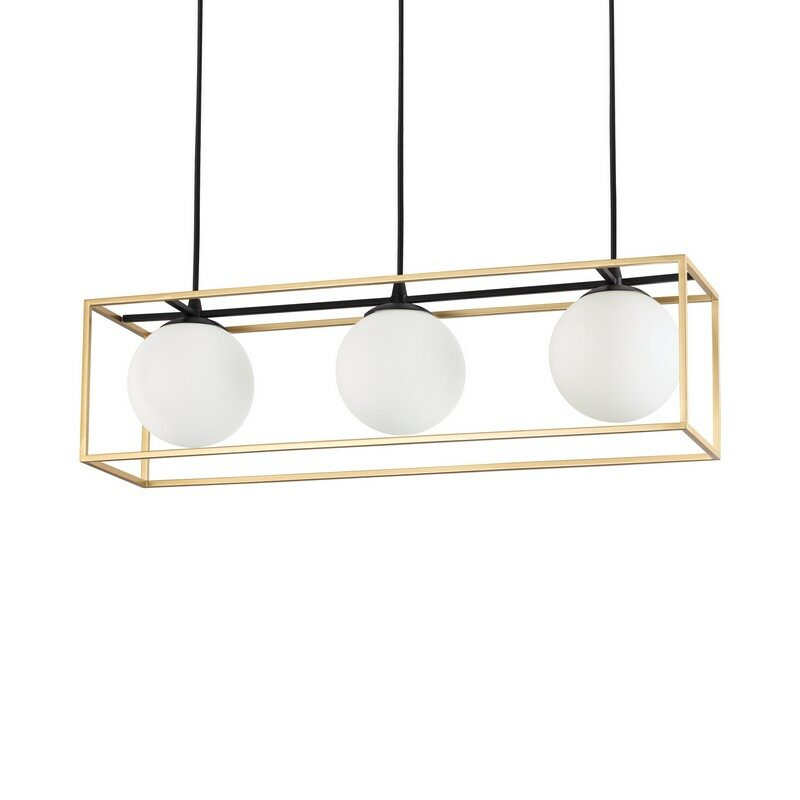 Suspension Lingotto 3 lumières noir mat et laiton mat