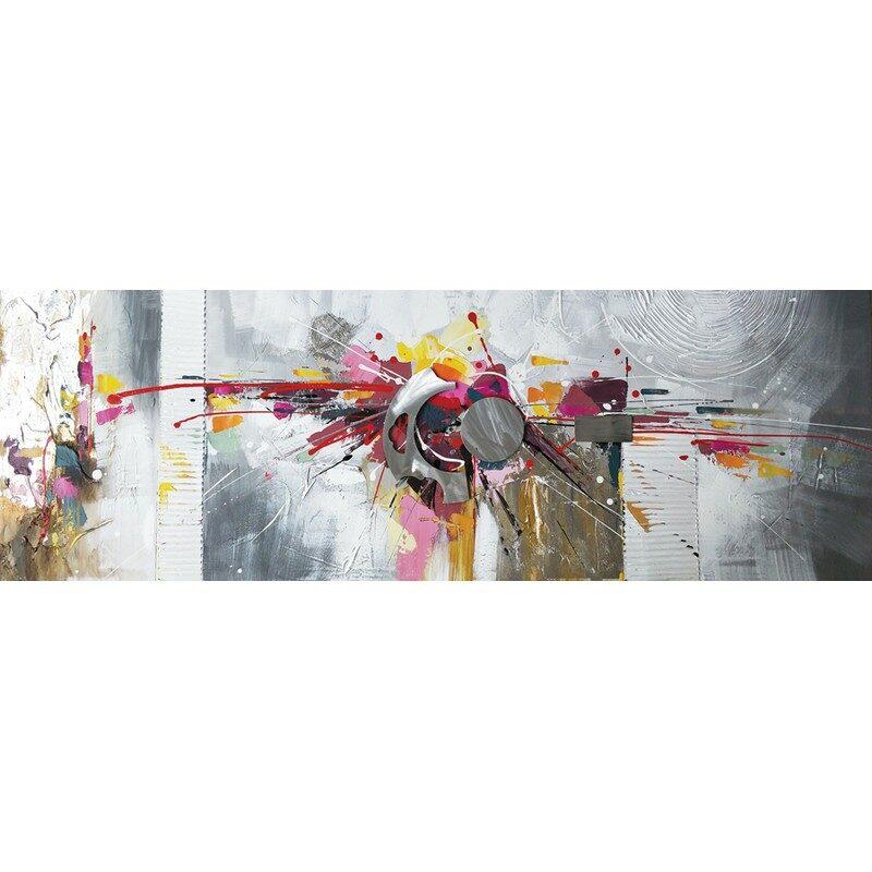 Toile abstraite avec métal 50 x 150 cm