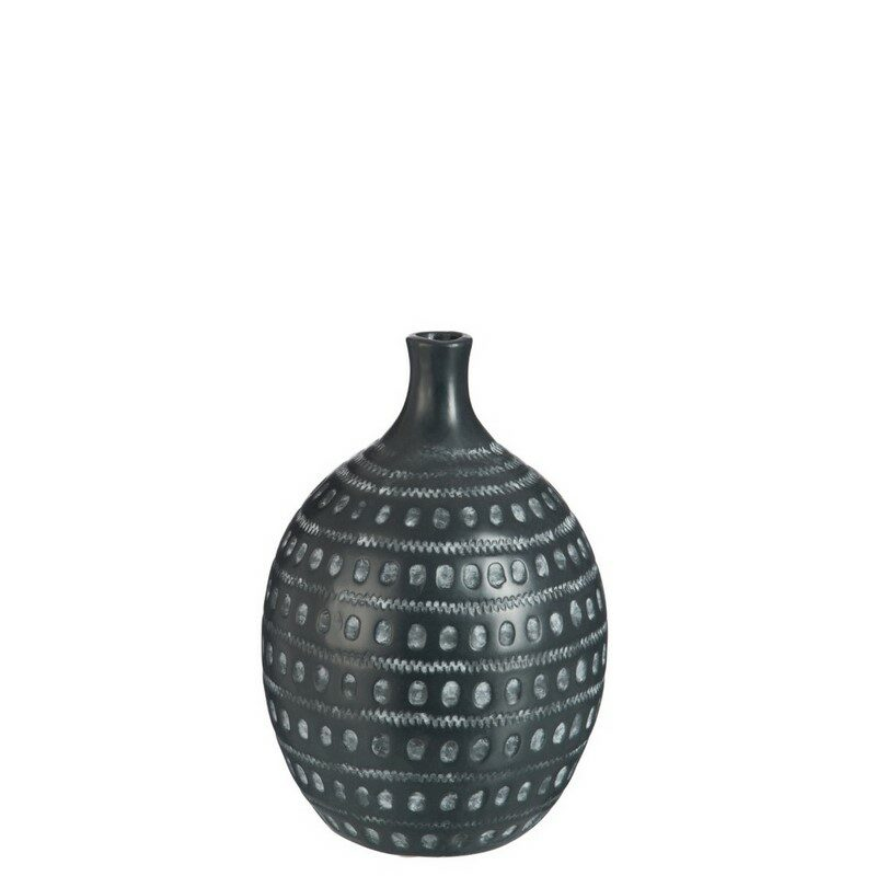 Vase ethnique noir medium