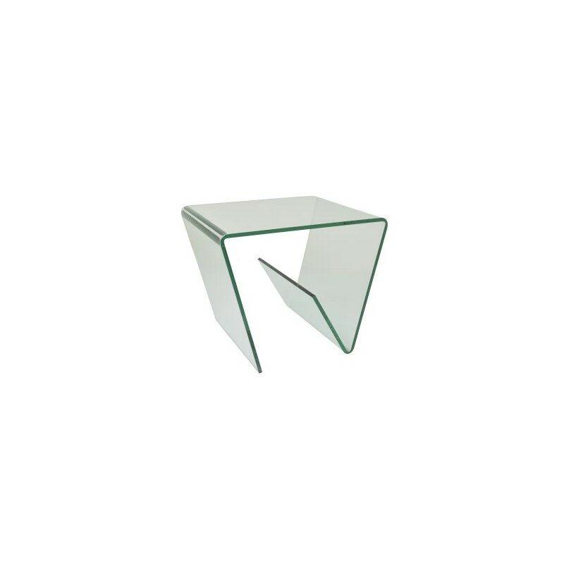 Bout de canapé porte-revues en verre transparent
