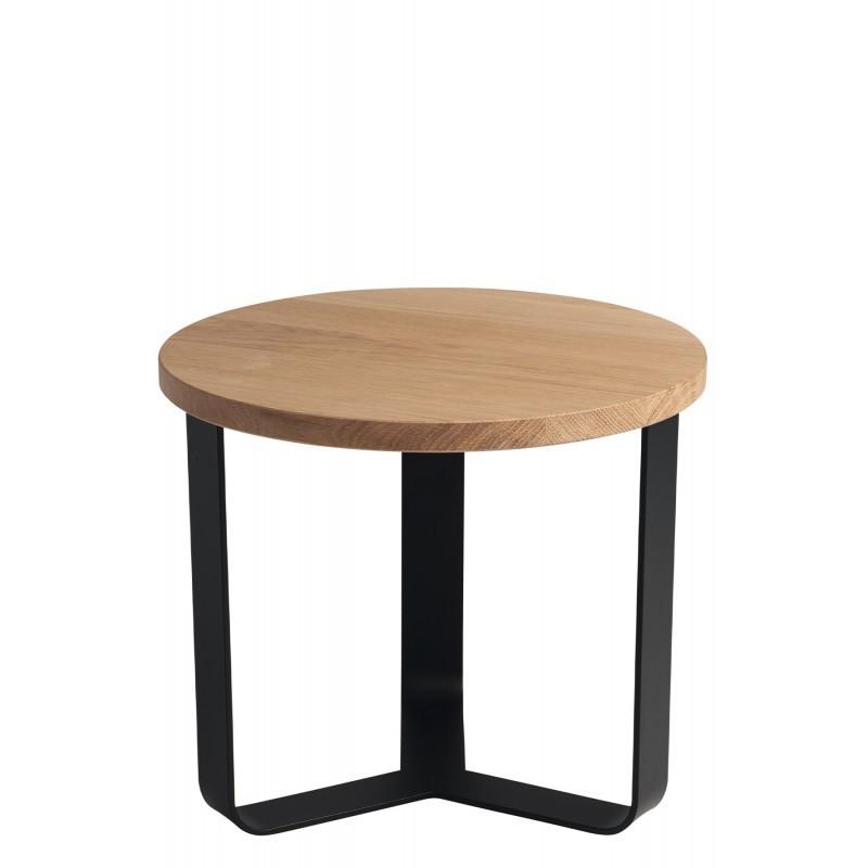 Bout de canapé rond bois clair et noir Lola 50 cm