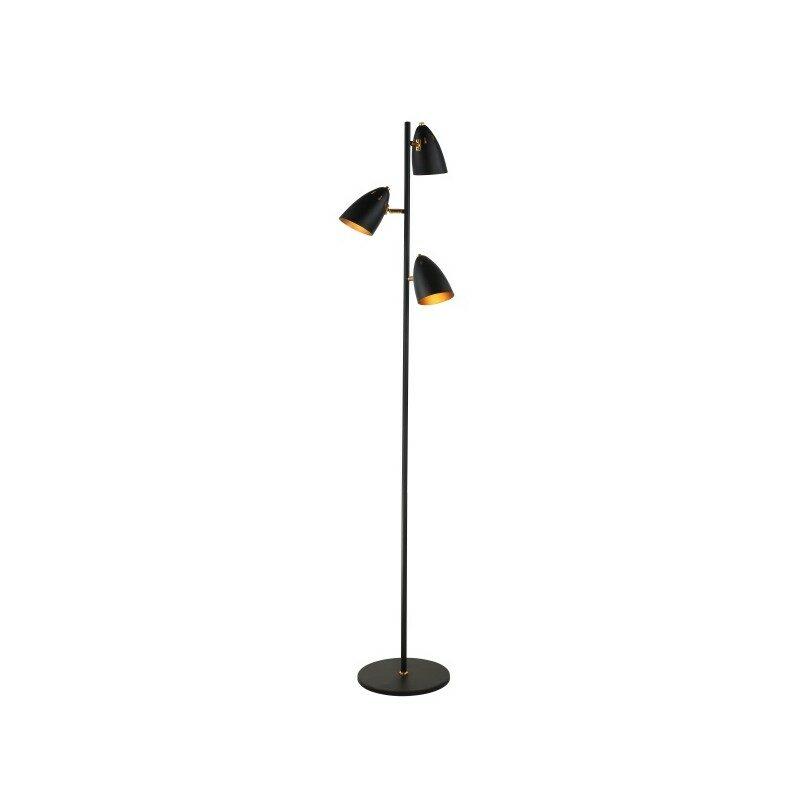 Lampadaire 3 lumières noir et or Erfin