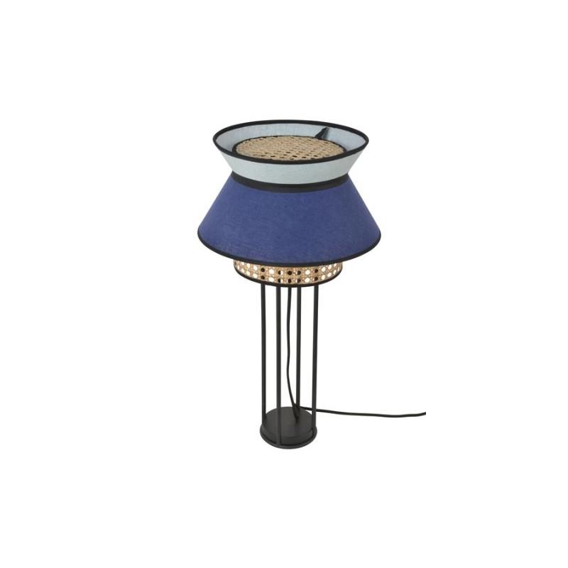 Lampe à poser cannage Singapour indigo et amande double en lin