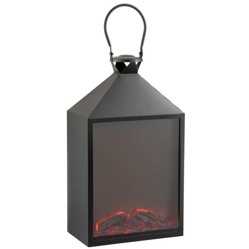 Lanterne cheminée LEd noire