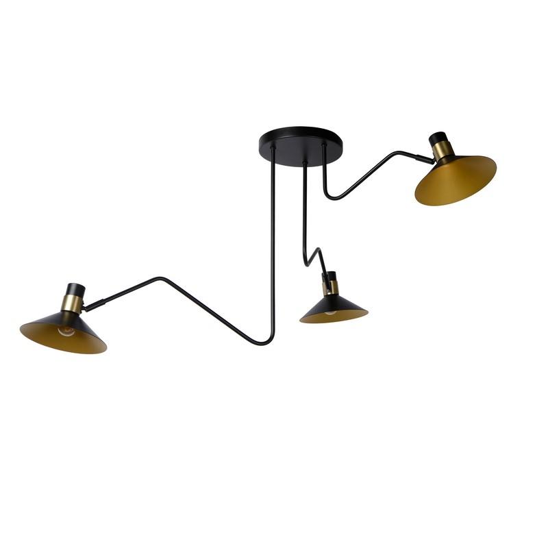 Plafonnier 3 lumières noir et or mat Pepijn