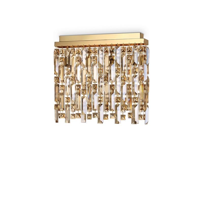Plafonnier pampilles Elisir dorée 4 lumières