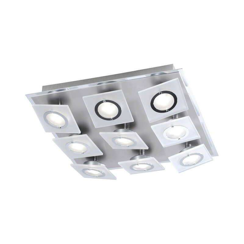 Plafonnier led Rotator aluminium et chrome 9 lumières