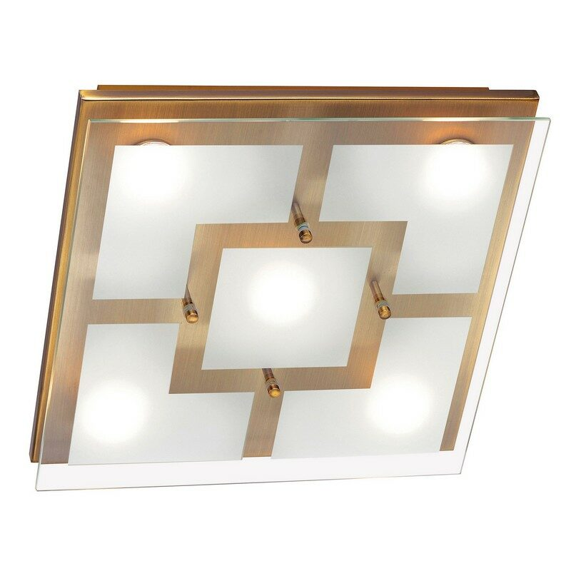 Plafonnier led Chiron laiton antique 5 lumières