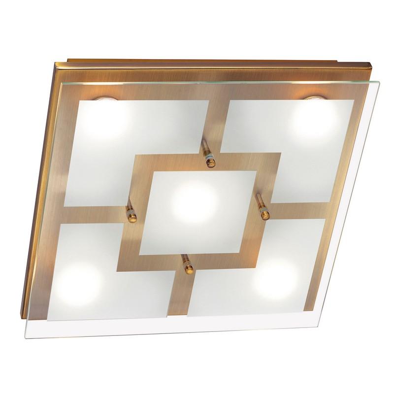 Plafonnier led Chiron laiton antique 5 lumières