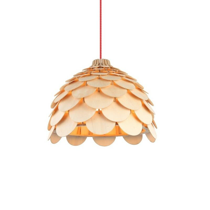 Suspension en bois naturel 31 cm Ananas