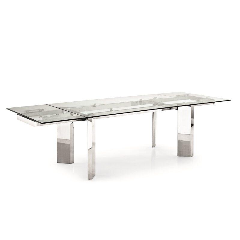 Table à manger avec rallonges Tower transparente et chrome