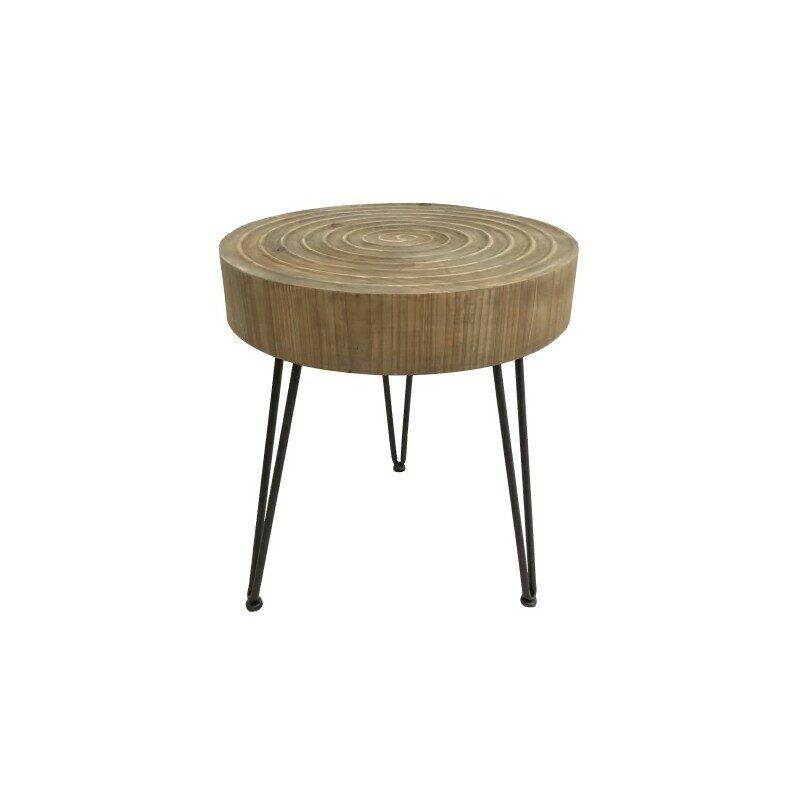 Table basse en bois et métal noir Barrani 40 cm