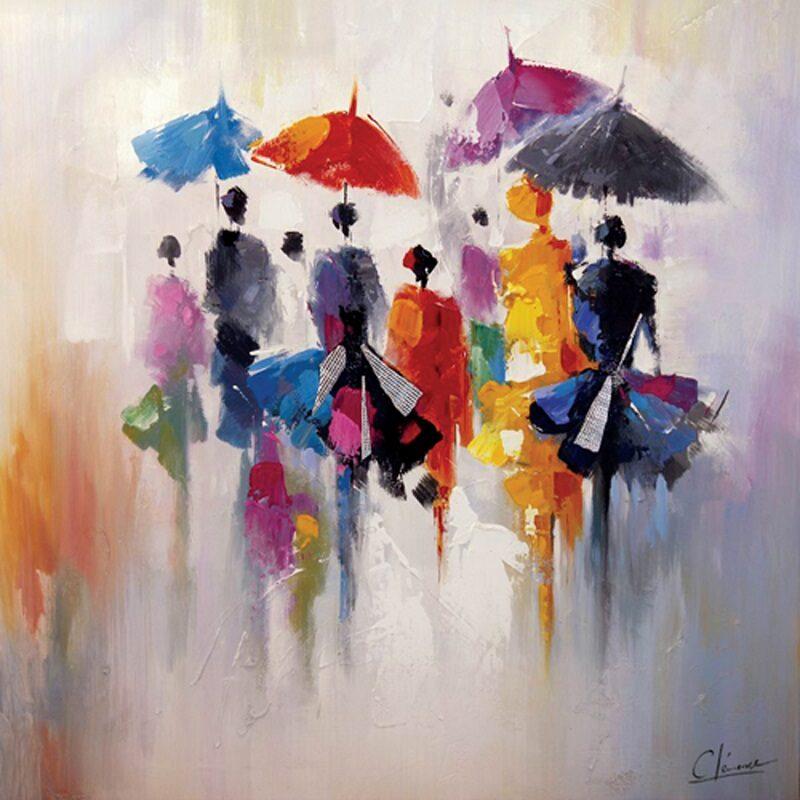 Toile parapluie avec entourage argent et noir