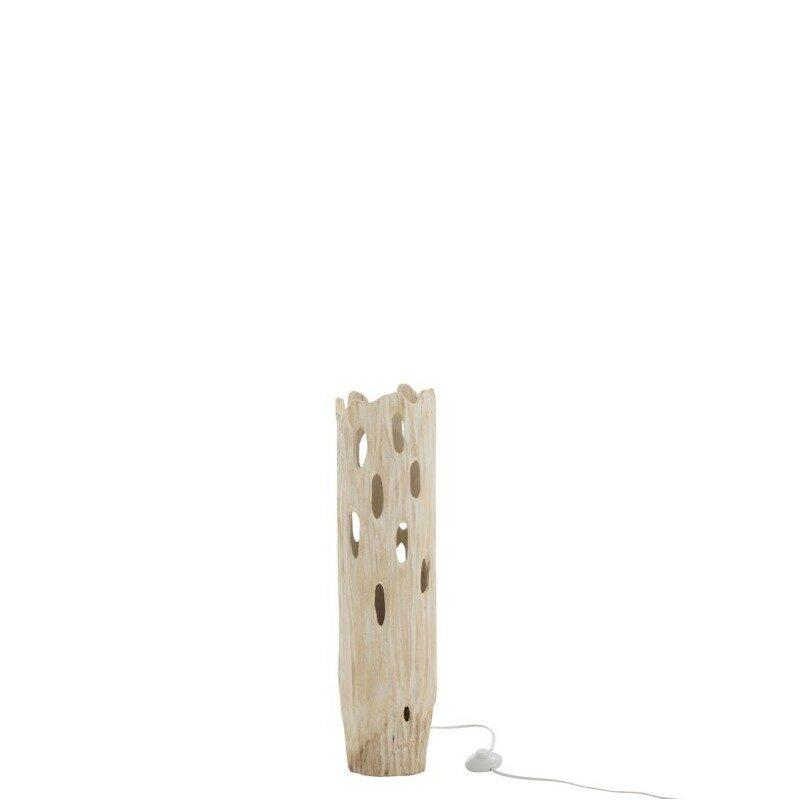 Lampe à poser en bois avec trous Tronc